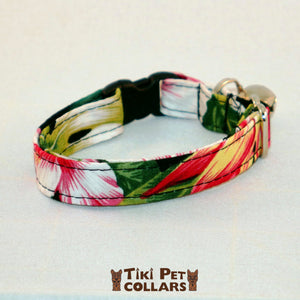 Hibiscus White Red and Bird of Paradise Kitti Collar - Tiki Pet Collars made on Kauai, Hawaii