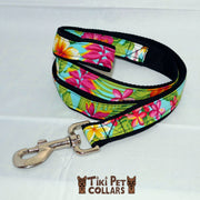 Heliconia Tropical Garden Leash - Tiki Pet Collars made on Kauai, Hawaii