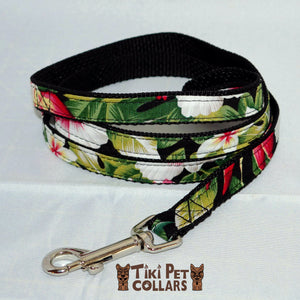 Hibiscus White Red and Bird of Paradise Leash - Tiki Pet Collars made on Kauai, Hawaii