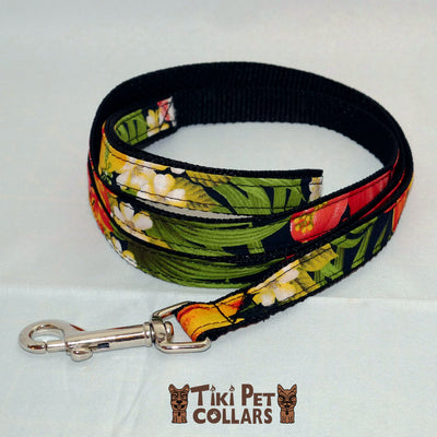 Hibiscus Orange and Palm Leaves Leash - Tiki Pet Collars made on Kauai, Hawaii
