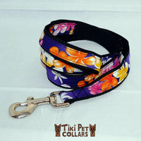 Plumeria Multi and Tiare White (lei) Leash - Tiki Pet Collars made on Kauai, Hawaii