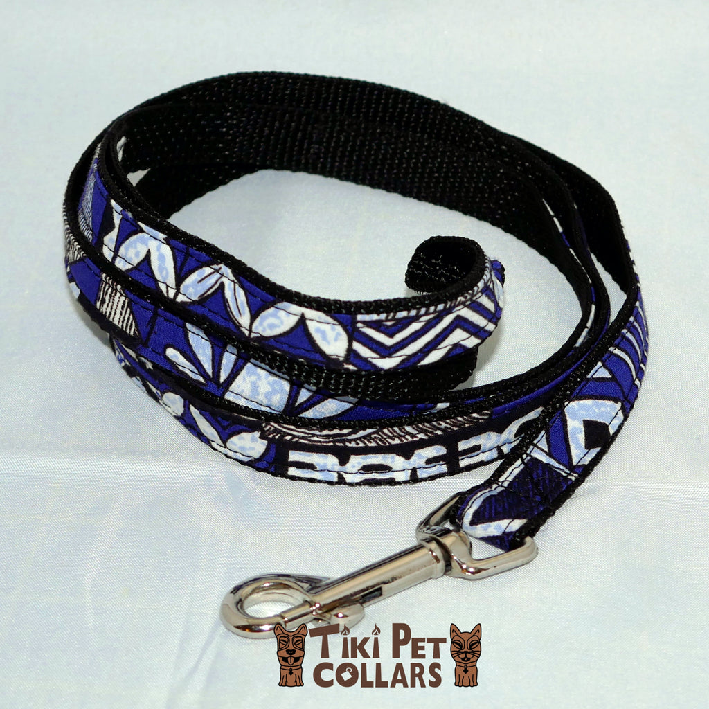 Tapa Design - Blue Leash - Tiki Pet Collars made on Kauai, Hawaii