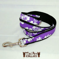 Hibiscus White Classic Leash - Tiki Pet Collars made on Kauai, Hawaii