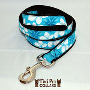 Plumeria White Leash (Royal and Turquoise only) - Tiki Pet Collars made on Kauai, Hawaii
