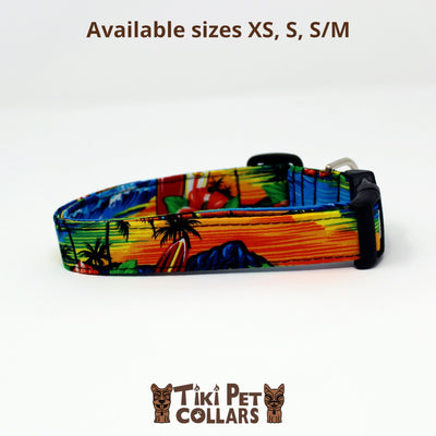 Hawaiian Sunset Dawg Collar - Tiki Pet Collars made on Kauai, Hawaii