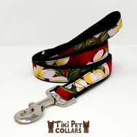 Plumeria Classic White Yellow Leash (Turquoise no longer available) - Tiki Pet Collars made on Kauai, Hawaii