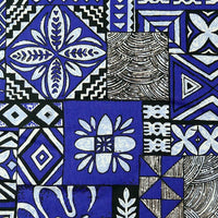 Tapa Design - Blue Dawg Collar - Tiki Pet Collars made on Kauai, Hawaii