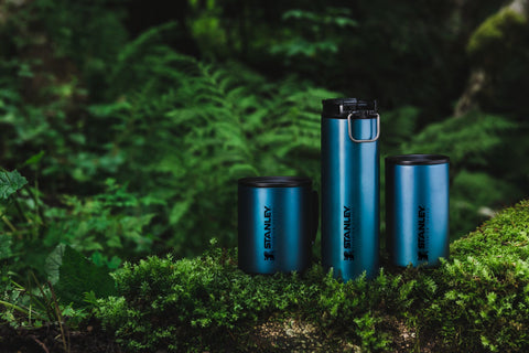 Stanley Titanium Series Multi-Cup, Travel Mug and Camp Mug surrounded by ferns.