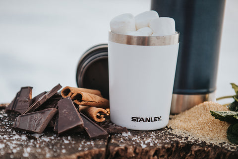 Stanley 8-oz Shortstack Travel Mug filled with marshmallows.