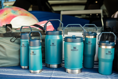 Stanley IceFlow™ Flip Straw Collection of jugs, tumblers and water bottles in Lagoon.