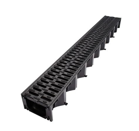 Aco Hexdrain Channel with Black Plastic Grating 125x80mm 1m