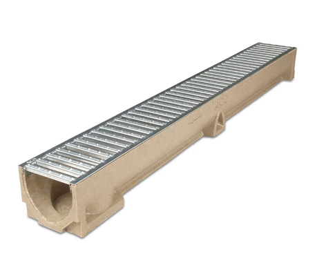 Aco RainDrain Plus Channel with Galvanised Steel A15 Grating 118x97mm 1m