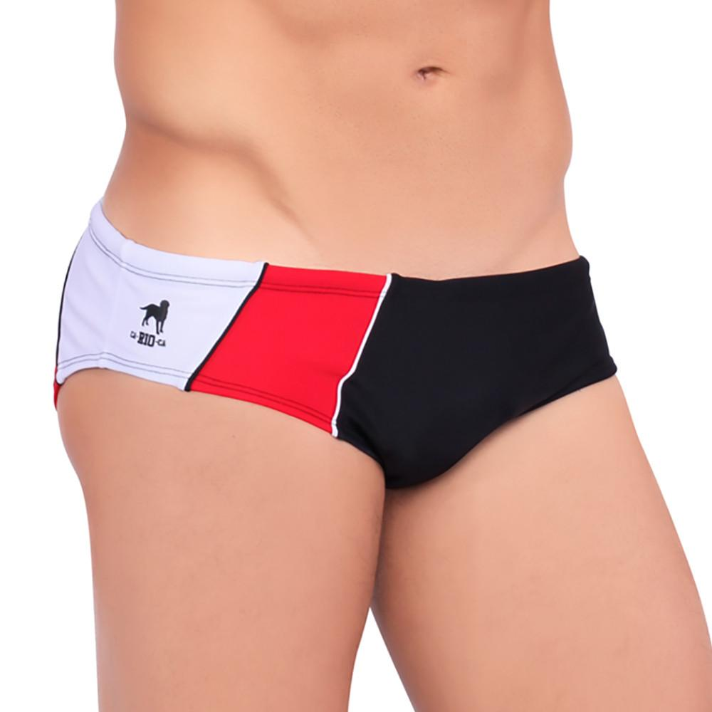 BRISA Swim Brief - Red, Black and White