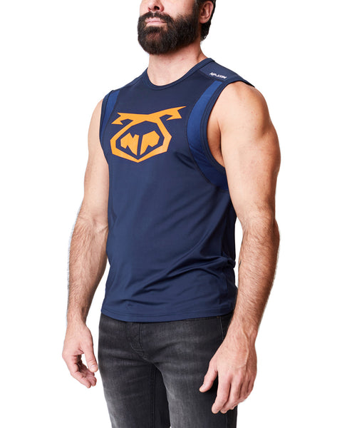 INTEGRATE SLEEVELESS SHIRT - BLUE