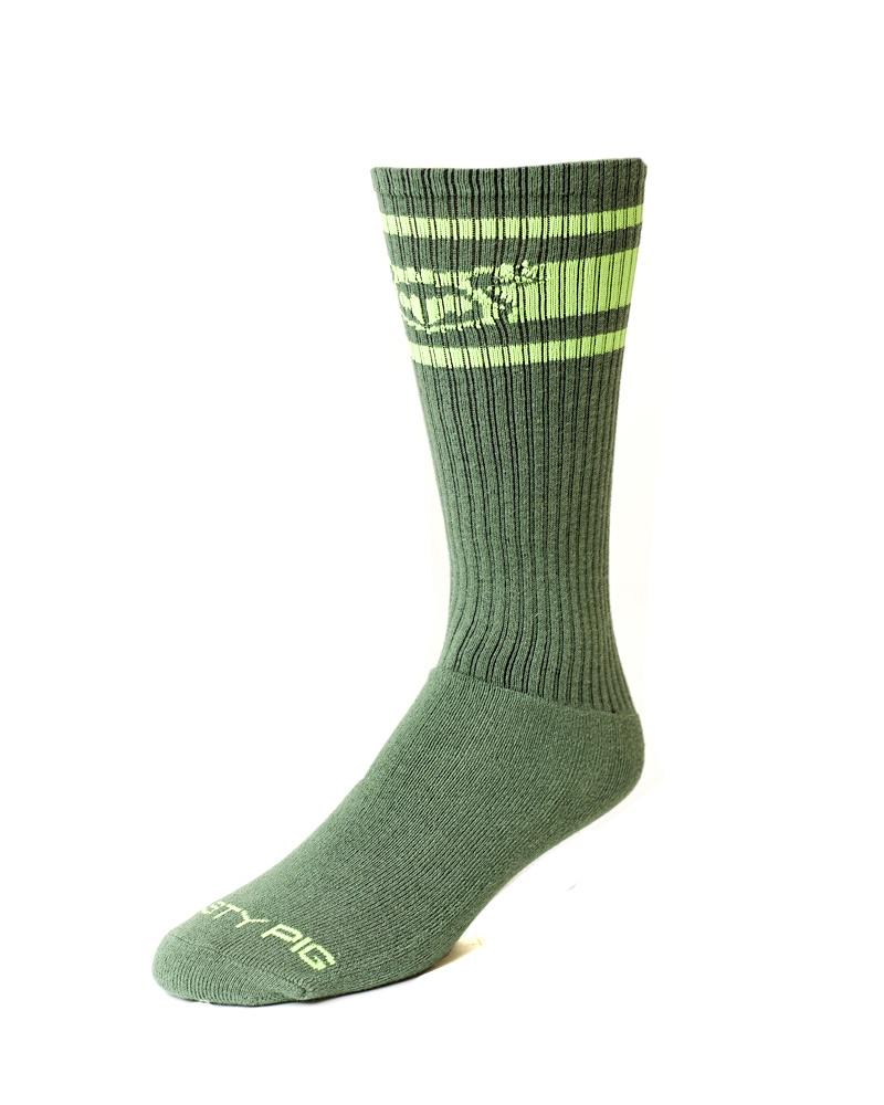 Hook'd Up Sport Sock - BEETLE GREEN/ ACID LIME
