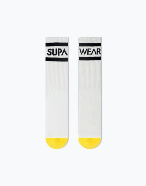 SUPA CREW SOCKS - ONE SIZE - WHITE