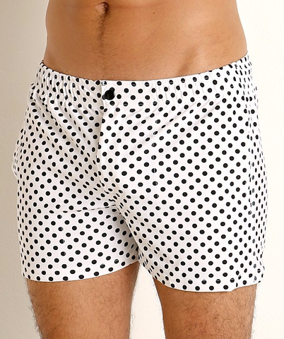 MALIBU SWIM SHORTS - BLK/WHT DOTS
