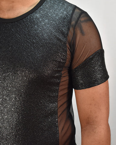 Dragon Scale Mesh Tee - BLK