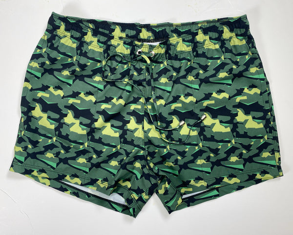 SHARP CAMO SWIM SHORT - GREEN CAMO