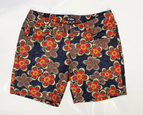 "5"" KNIT FLORAL SHORT - RED/NAVY"