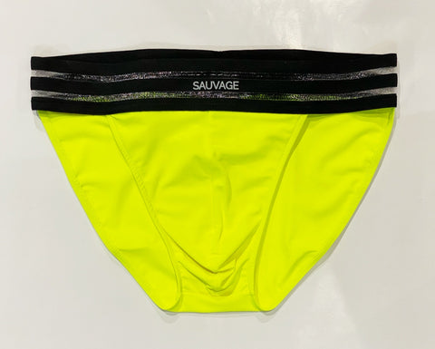 SHEER STRIPE BRIEF - LEMON