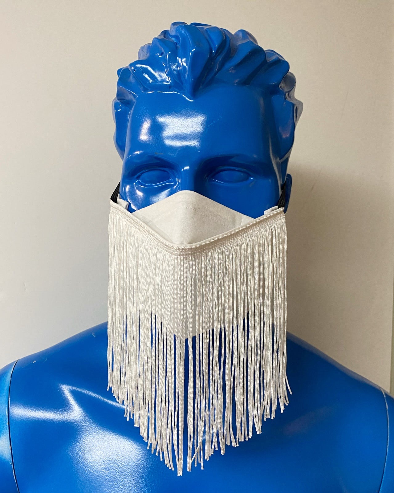 FOLDING STYLE MASK - WHITE PARTY FRINGE