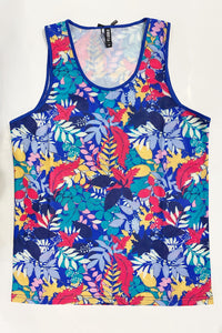 TROPICAL LEAVES MESH TANK - NAVY