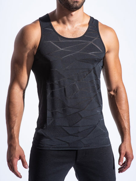 POLYGON MESH PERFORMANCE TANK - BLK