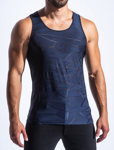 POLYGON MESH PERFORMANCE TANK - NAVY