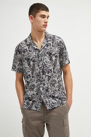 PAIKU PALM SHIRT - BLK-WHT