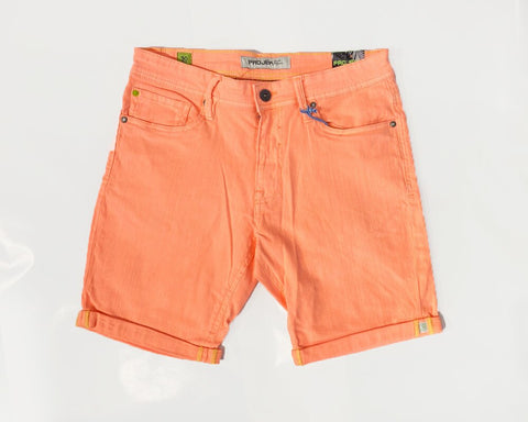 DYED DENIM STRETCH SHORTS - NEON ORANGE