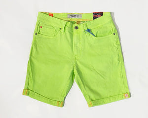 DYED DENIM STRETCH SHORTS - NEON LIME
