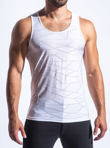 POLYGON MESH PERFORMANCE TANK - WHT