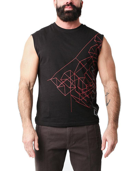 WIREFRAME SLEEVELESS TEE - BLK