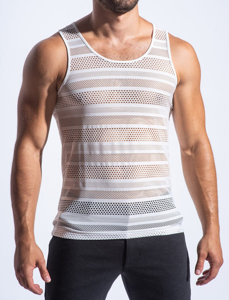 STRETCH EYELET TANK - WHT