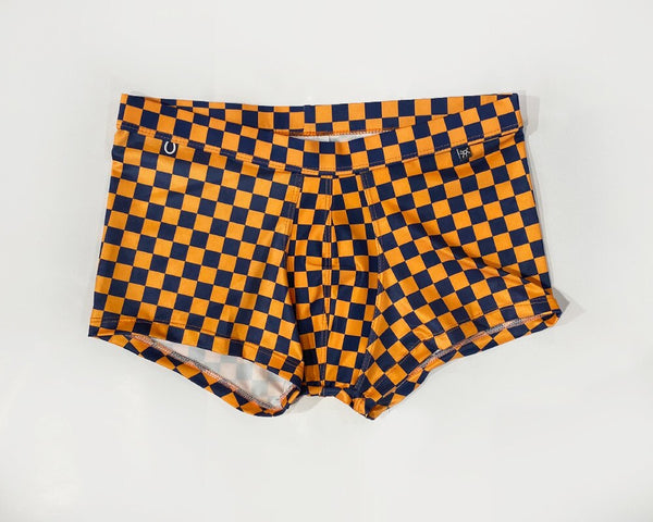CHECKERED SWIM TRUNK - ORANGE-NAVY