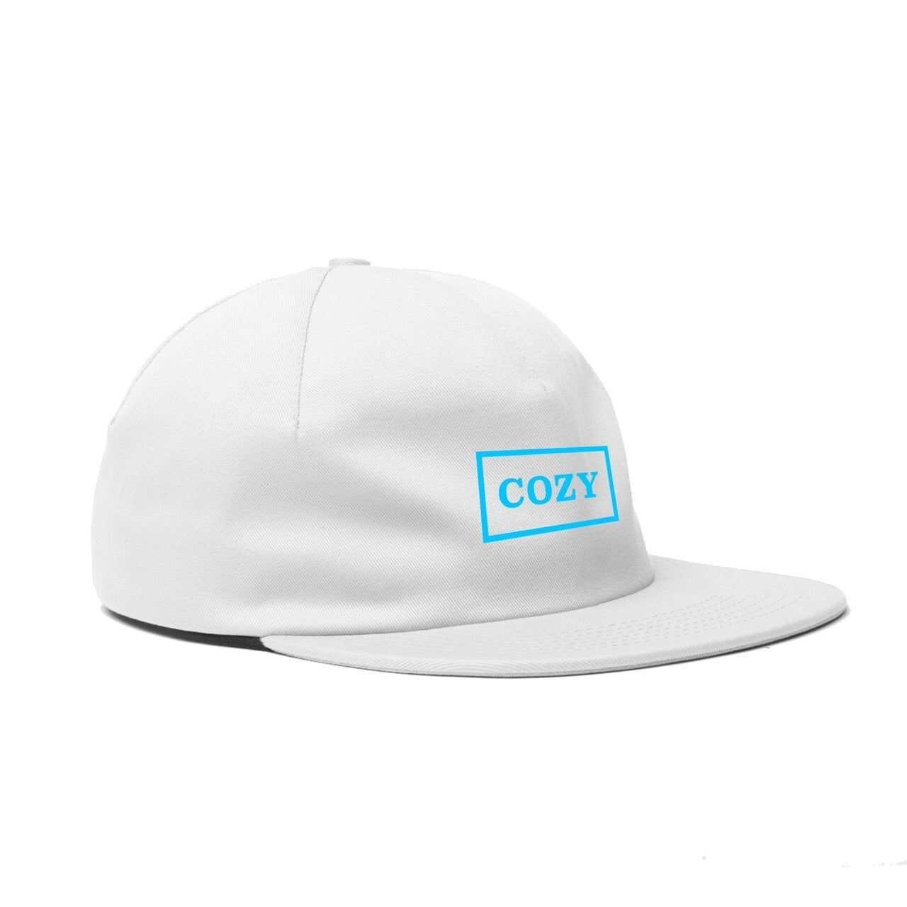 COZY BOX ONE PANEL HAT - WHT-CYAN