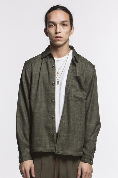 PLAID OVERSHIRT - OLIVE