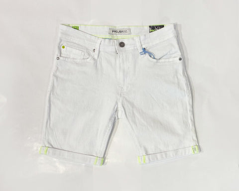 DYED DENIM STRETCH SHORTS - WHT