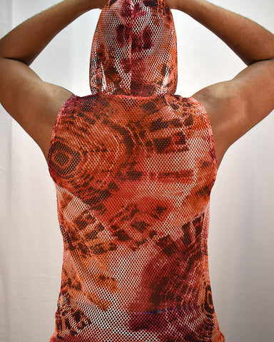 LAVA MESH HOODED TANK - RED TIE DYE