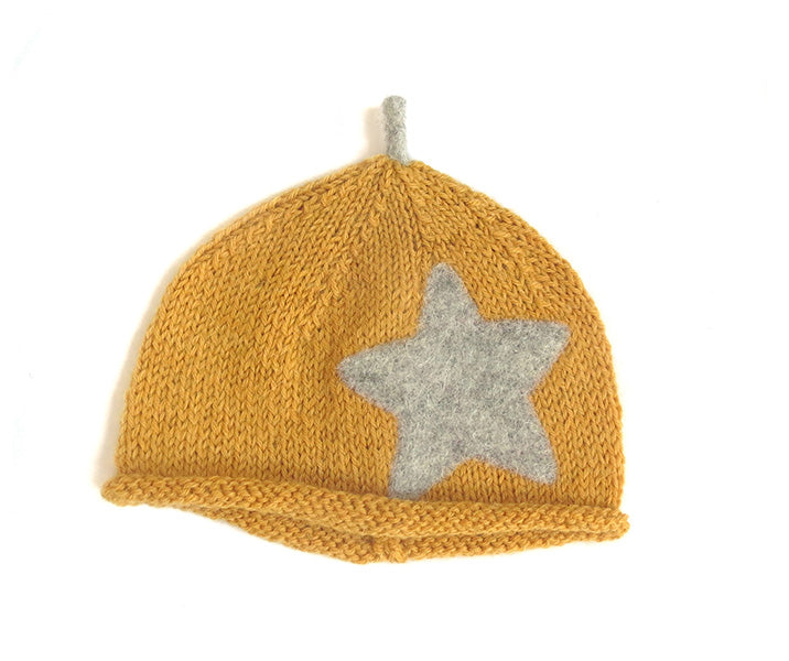 Beanie Hat - Golden Apricot with Mama Rabbit Grey Star and Sprout