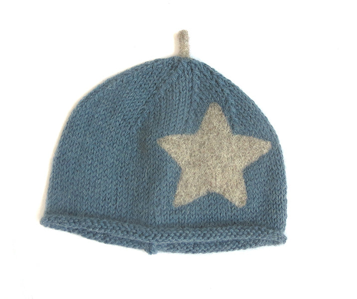Beanie Hat - Petrol Blue with Mama Rabbit Star and Sprout