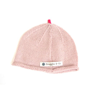 Beanie Hat - Pale Pink with Cerise Pink Star and Sprout