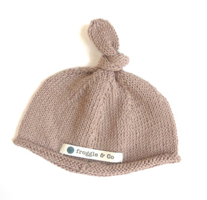 Knotted Top Beanie Hat - Dusty Pink