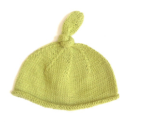 Knotted Top Beanie Hat - Squashed Avocado