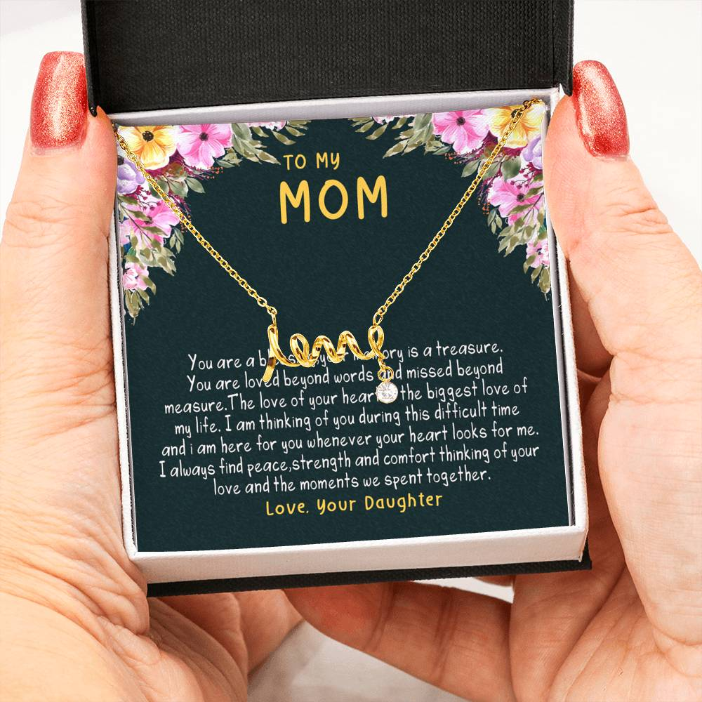 Mom is my blessing | scripted love necklace | gift for mom