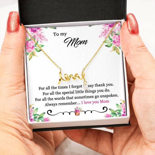 thanks to mom scripted love necklace | jewelry for mom