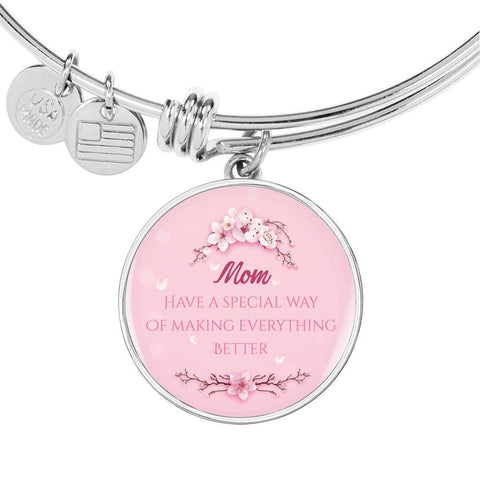 For Mom Circle Pendant Luxury Bangle