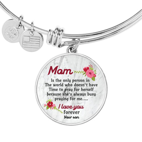 To Mom Circle Pendant Luxury Bangle