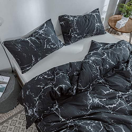 Amazon.com: profession Duvet Cover Set 100% Natural Cotton Comforter Cover Black Marble Reversible Design with Zipper Closure Bedding Set(Full/Queen, Black): Home & Kitchen